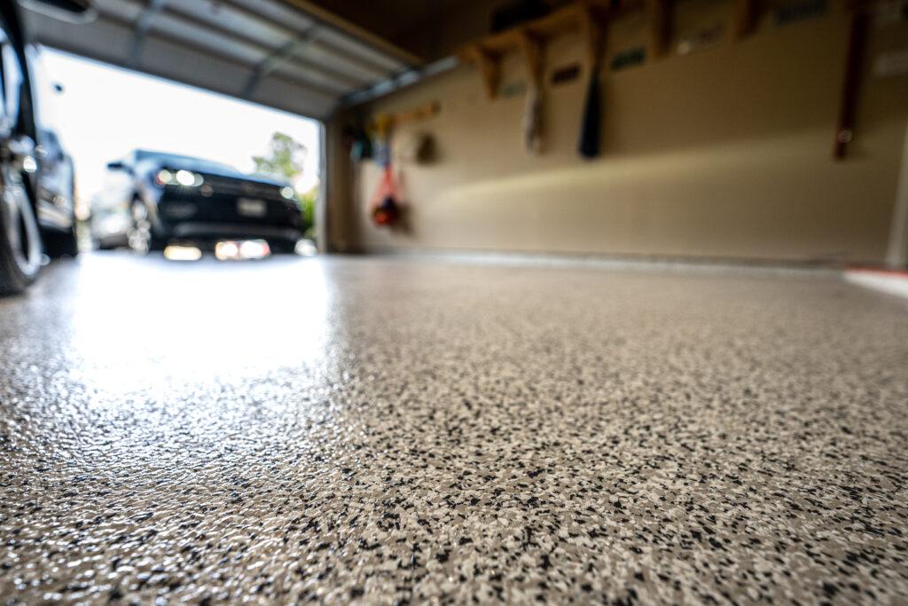 Flake polyaspartic garage floor