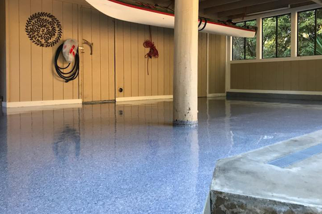 Polyurea finish on concrete basement floor